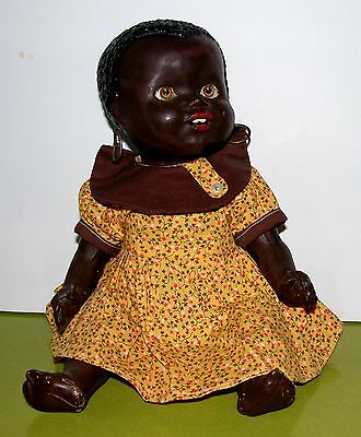 """Lovely 12"""" Black Vintage Composition Baby Doll ... must see"""