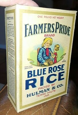 Antique FARMERS PRIDE Blue Rose Rice Box Terre Haute Indiana FREE US SHIPPING