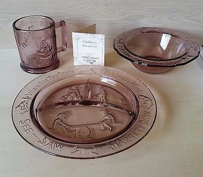 Margery Daw Amethyst Glass Nursery Rhyme Divided Plate Bowl & Cup