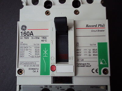 Circuit breaker MCCB (moulded case) 160A FEH36TD160JF   GE Record Plus  FE160