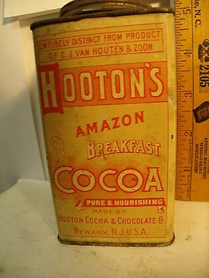 GREAT RARE 1920's HOOTON 8oz Cocoa Advertising COUNTRY STORE Tin GREAT Graphics