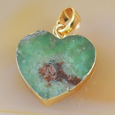 Heart Australia Natural Chrysoprase Pendant Bead Gold Plated T031295