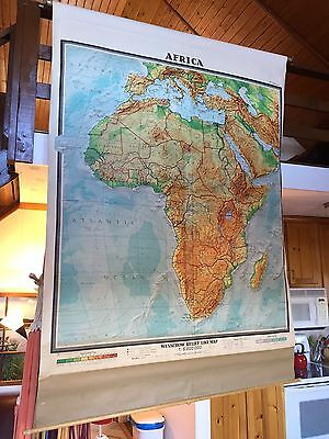 Vintage Wenschow Cloth Pull Down Relief School Map Of Africa Great Color 64x84