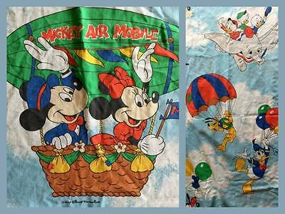 Vintage Disney Flat Sheet Mickey Air Mobile Dumbo Pluto Donald Duck Fabric