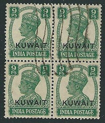 KUWAIT 1945 GVI 9p block of 4 used SG54 cat £68............................45039