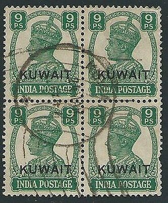 KUWAIT 1945 GVI 9p block of 4 used SG54 cat £68............................45041