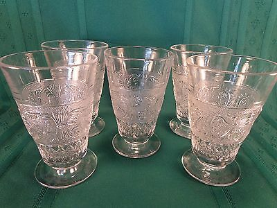 Duncan & Miller Sandwich Clear Glass 12 Oz Footed Iced Tea Tumblers Set of 5