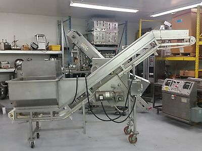 Incline Cleated Conveyor with Large Hopper - Stainless Steel