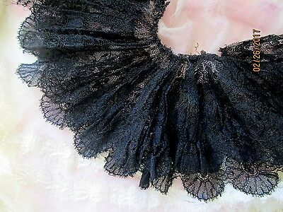 "ANTIQUE VICTORIAN FRENCH SILK CHANTILLY LACE TRIM GATHERED RUFFLE    70"" x 4"""