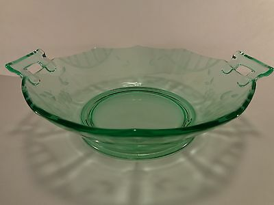 "Vintage Imperial Molly #725 Green 9"" Two Handled Bowl Floral Cutting Fluorescent"
