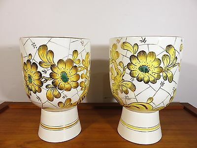 VTG PAIR Hand Painted CERAMIC MARBRO LAMP BASES Italy ART POTTERY Mid Century