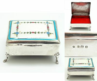 Antique English Sterling Silver Guilloche Enamel Jewelry Trinket Vanity Box 1911