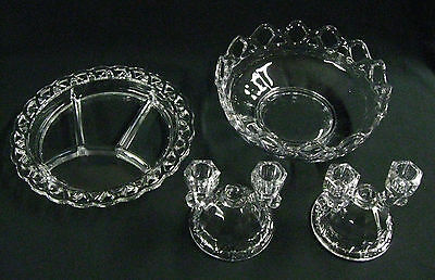 "1940s-50s Imperial Glass ""Crocheted"" Salad Bowl, 4 Part Relish, 2 Candlesticks"