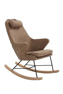 NEW Unica Rocking Chair Cushion Wooden Fabric Recliner Lounge - Brown