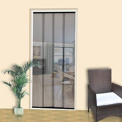 Black Mesh Door Curtain Anti-insect Fly Mosquito Screen Blinds 100cm Hands Free
