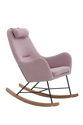 NEW Unica Rocking Chair Cushion Wooden Fabric Recliner Lounge - Pink