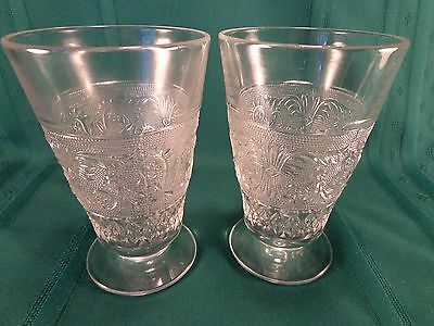 Duncan & Miller Sandwich Clear Glass Footed Iced Tea Tumblers Set of Two 12 Oz.