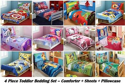4pc Boys Girls Toddler Bedding Set Comforter Sheets
