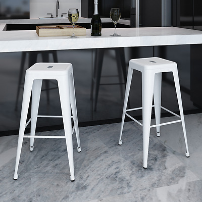 Modern 2x Counter Bar Stool Steel High Seat Chair White Kitchen Dining Room Cafe