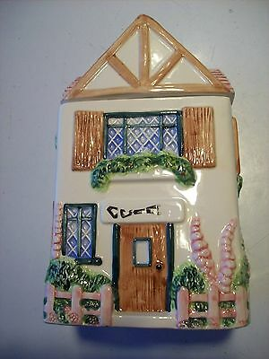 OCI Coffee Victorian Cottage Garden House Home Canister Pink Roof Fence @ cLOSeT