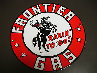 FRONTIER Gasoline GAS Oil/Gas Porcelain Advertising sign
