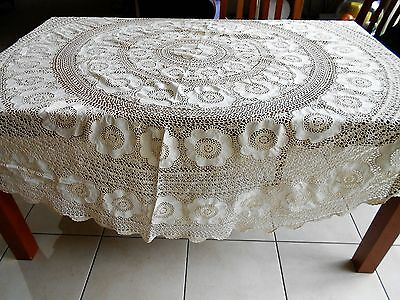 Vintage Large Round Crochet And Linen Cream Table Cloth 220Cm In Diameter