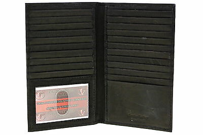 Genuine Leather Large Credit Card Holder Case Checkbook Men Womens 20 Card Slots