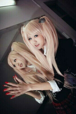 Motif tendance ! Danganronpa Junko Enoshima Long fête rose cosplay Cos perruque+