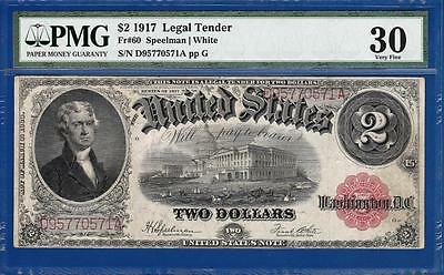 1917 $2 Red Seal Legal Tender Note - Certified PMG Very Fine VF 30 - C2C