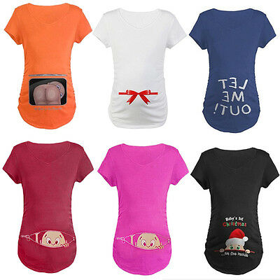 Women's Baby Mooning Peeking Maternity T-shirt Funny Print Pregnancy Cotton Tee