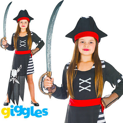 Girls Pirate Captain Kids Child World Book Day Week Fancy Dress Costume Outfit