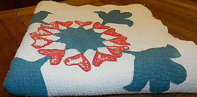 Fabulous Antique/vintage Cutter/repair Quilt! Teal Blue/red/white Appliqué