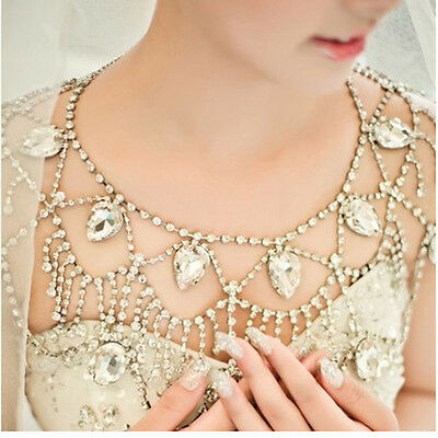 Shoulder Necklace Chain Bridal Rhinestone Crystal Choker Bid Necklace Jewelry