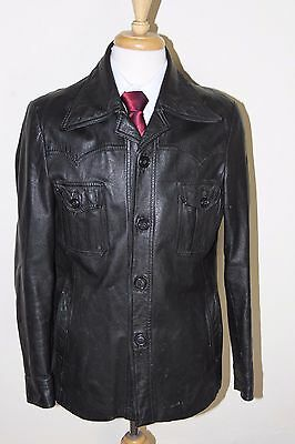 vintage MENS 70S RETRO BLACK REAL LEATHER SAFARI JACKET COAT BY SZ 40