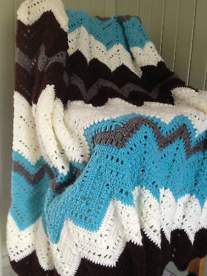 Handmade knitted colourful blanket/throw