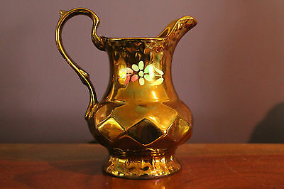 Wade England Milk Pitcher Copper Lustre With Floral And Diamond Design