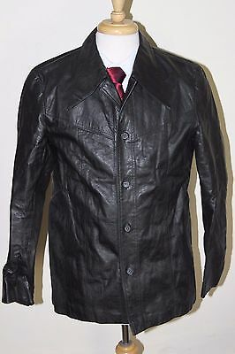 vintage MENS 70S RETRO BLACK REAL LEATHER SAFARI JACKET COAT SZ 40