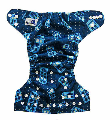Modern Cloth Reusable Washable Baby Nappy Diaper & Insert, Tardis