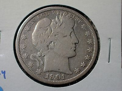 1901-S Key Date Barber Silver Half Dollar VG Condition