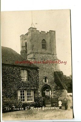 BROUGHTON Hants. ST. MARY'S TOWER 1900s RP POSTCARD