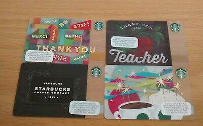 Starbucks Uk Cards X 4- Includes Thank You-Thank You Teacher-Coffee Company