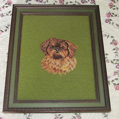 Lhasa Apso Needlepoint in a Vintage Egg & Dart Wooden Picture Frame