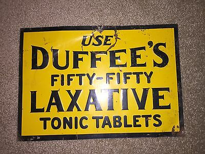 Vintage Tin Litho Embossed Duffee's Laxative Advertising Sign