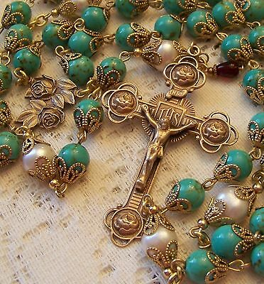 French Rosary ~ 8mm Turquoise Gemstones & Pearls Antique Bronze Design (D)