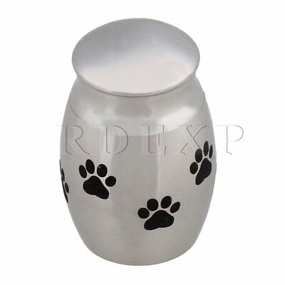 Stainless Steel Silver Holder Memorial Paw Shape Pet Urn Funeral Urns