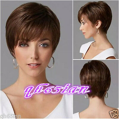 Charm Women's Short Brown Straight Natural Hair wigs + Wig cap