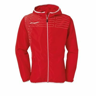 Uhlsport Womens Ladies Sports Football Training Hooded Zip Jacket Top Red White