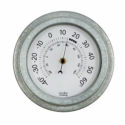 Vintage Outdoor Wall Garden Thermometer Galvanised Steel PATIO Wall Mounted 22cm