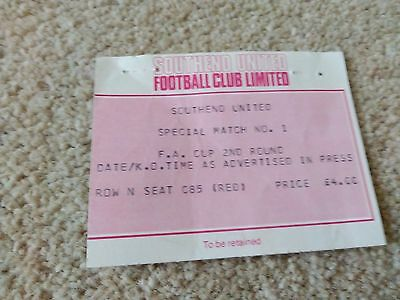 Southend United v Yeovil 11/12/82 FA Cup Ticket
