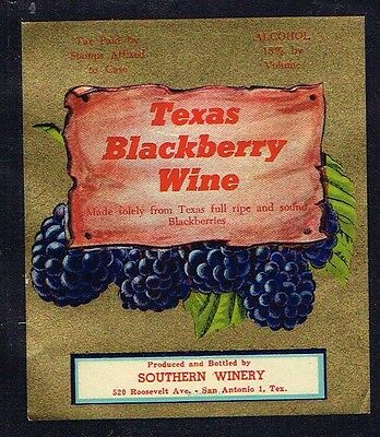 1940s TEXAS San Antonio Southern Texas Blackberry Wine Label
